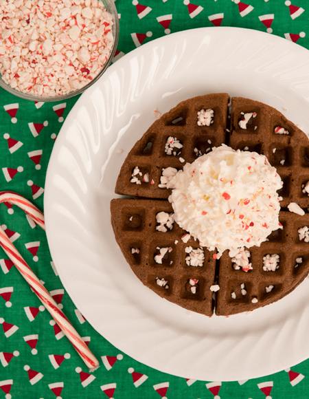 Chocolate Peppermint Belgian Waffles
