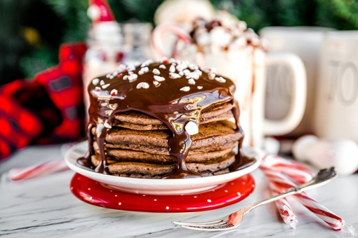 Holiday Pancakes with Crushed Canes