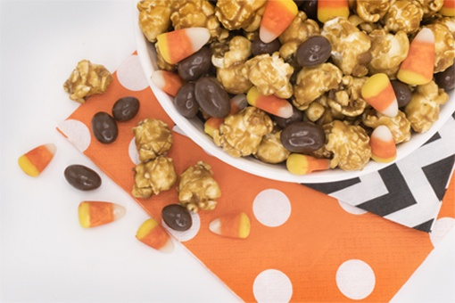 Mini Candy Corn, Chocolate Peanut and Caramel Popcorn Munch