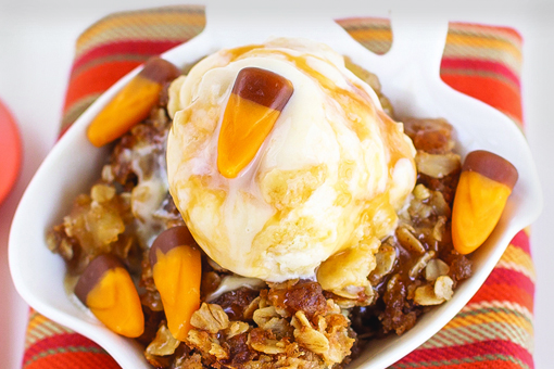 Caramel Candy Corn Apple Crisp