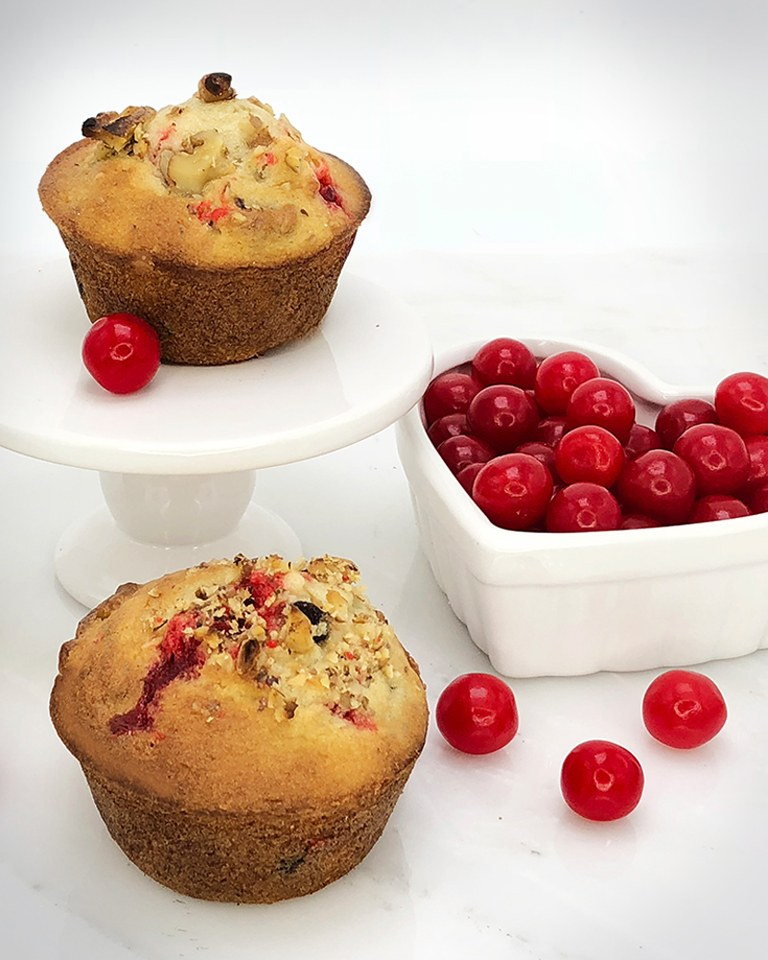 Brach's Cherry Sours Muffins with Chocolate Chips and Walnuts